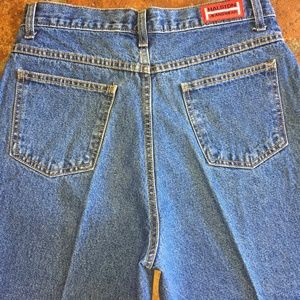 Halston Jeanswear Jeans - Vtg 90's Halston High Waisted Cropped Blue Jeans
